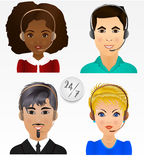 Set vector people avatars. Employees of call center support and. Help service Stock Images