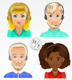 Set vector people avatars. Employees of call center support and. Help service Royalty Free Stock Images