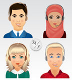 Set vector people avatars. Employees of call center support and. Help service Royalty Free Stock Image
