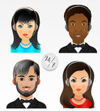 Set vector people avatars. Employees of call center support and. Help service vector illustration