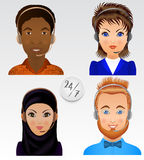 Set vector people avatars. Employees of call center support and Stock Photos