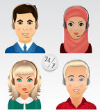 Set vector people avatars. Employees of call center support and Stock Images