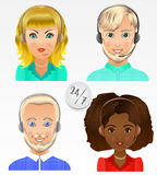 Set vector people avatars. Employees of call center support and Royalty Free Stock Photography