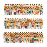 Set of vector people groups arranged in a row in flat style.  stock illustration