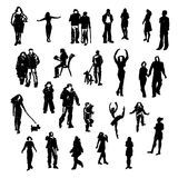 Set of vector people silhouettes. stock illustration