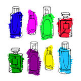 Set of vector perfume fashion container smell spray. Vector illu Stock Photo