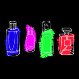 Set of vector perfume fashion container smell spray. Vector  Royalty Free Stock Photo