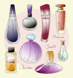 Set of vector perfume fashion Royalty Free Stock Images