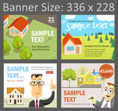 Set of vector pictures for banner design. Vector templates for create banners for Adwords advertising, size 336 x 228. Four illustrations for real estate royalty free illustration