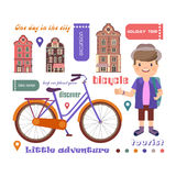 Set of vector pictures on the theme of a trip on a bicycle, a small adventure.  Royalty Free Stock Image