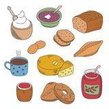 Set of vector pied doodle food icons in flat style Royalty Free Stock Photo