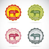 Set of vector pig label Royalty Free Stock Images