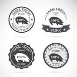 Set of vector an pig label Royalty Free Stock Image