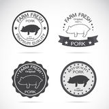 Set of vector pig label Stock Image