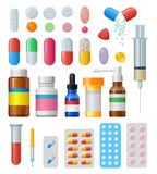 Set of vector pills and capsules Royalty Free Stock Photos