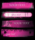 Set of vector pink grunge banners Royalty Free Stock Photos