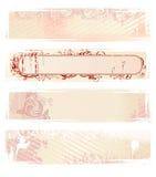 Set of vector pink grunge banners stock illustration