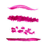 Set of vector pink paint stains and textured. Set of vector paint stains and textured strokes. Collection of cosmetic swatches Stock Photos