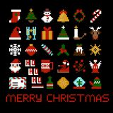Set of vector pixel art christmas icons.  Royalty Free Stock Photo