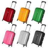 Set of vector plastic suitcases on castors with retractable handles Stock Photography