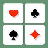 Set of vector playing card symbols with shadows Royalty Free Stock Photo