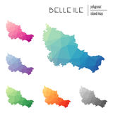Set of vector polygonal Belle Ile maps filled. Stock Images