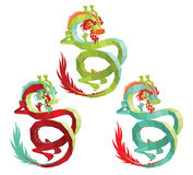 Set of Vector Polygonal Chinese Dragons. Royalty Free Stock Images