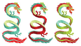 Set of Vector Polygonal Chinese Dragons. Stock Photos