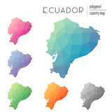 Set of vector polygonal Ecuador maps. Bright gradient map of country in low poly style. Multicolored Ecuador map in geometric style for your infographics Royalty Free Stock Images