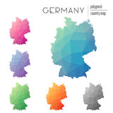 Set of vector polygonal Germany maps. Bright gradient map of country in low poly style. Multicolored Germany map in geometric style for your infographics Royalty Free Stock Photography