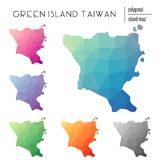Set of vector polygonal Green Island, Taiwan maps. Stock Photo