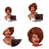 Set of vector pop art round avatar icon for users of social networking, blogs, profile icons Royalty Free Stock Images