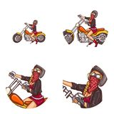 Vector biker girl pop art avatar icons royalty free illustration