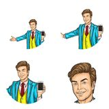 Set of vector pop art round avatar icon for users of social networking, blogs, profile icons Stock Images