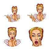 Set of vector pop art round avatar icons for users of social networking, blogs, profile icons. Surprised blond girl with a headscarf on her hair with open Royalty Free Stock Image