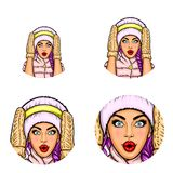 Set of vector pop art round avatar icons for users of social networking, blogs, profile icons. Royalty Free Stock Images