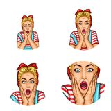 Set of vector pop art round avatar icons for users of social networking, blogs, profile icons. Surprised blond girl with a headscarf on her hair with open Stock Photo