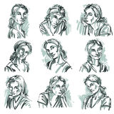 Set of vector portraits of beautiful women in different emotions Stock Photography