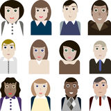 Set of vector portraits of female and male office workers Stock Image