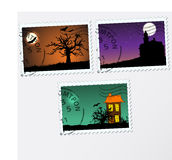 Set of vector post stamps.  Halloween Stock Image