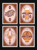 Set of vector postage stamps with glass of beer, keg, lobster Royalty Free Stock Images