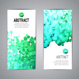 Set of Vector Poster Banners Templates with Dots. Watercolor simulation Paint Splash. Abstract Background for Business Documents, Flyers and Placards Royalty Free Stock Photos
