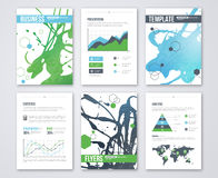 Set of Vector Poster Templates with Blue Green Royalty Free Stock Photo