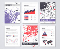 Set of Vector Poster Templates with Pink Violet Stock Photography