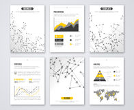 Set of Vector Poster Templates with Wireframe Mesh Royalty Free Stock Image