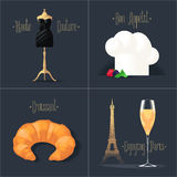 Set of vector posters, flyers, postcards, design, illustration for France Royalty Free Stock Photo