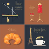 Set of vector posters, flyers, postcards, design, illustration for France Royalty Free Stock Images