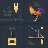 Set of vector posters, flyers, postcards, design, illustration for France Royalty Free Stock Photography