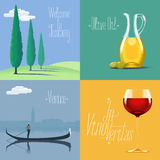 Set of vector posters, flyers, postcards, designs, illustration for Italy Stock Photography