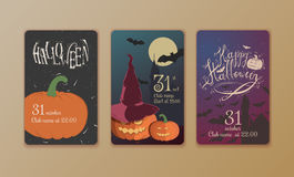 Set of vector posters Halloween. Royalty Free Stock Photography